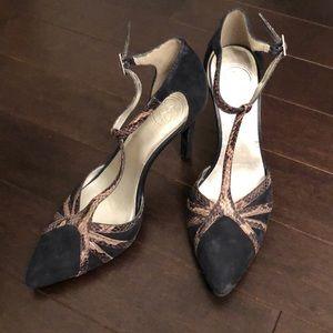 Genuine Suede + Snakeskin T Strap Heels